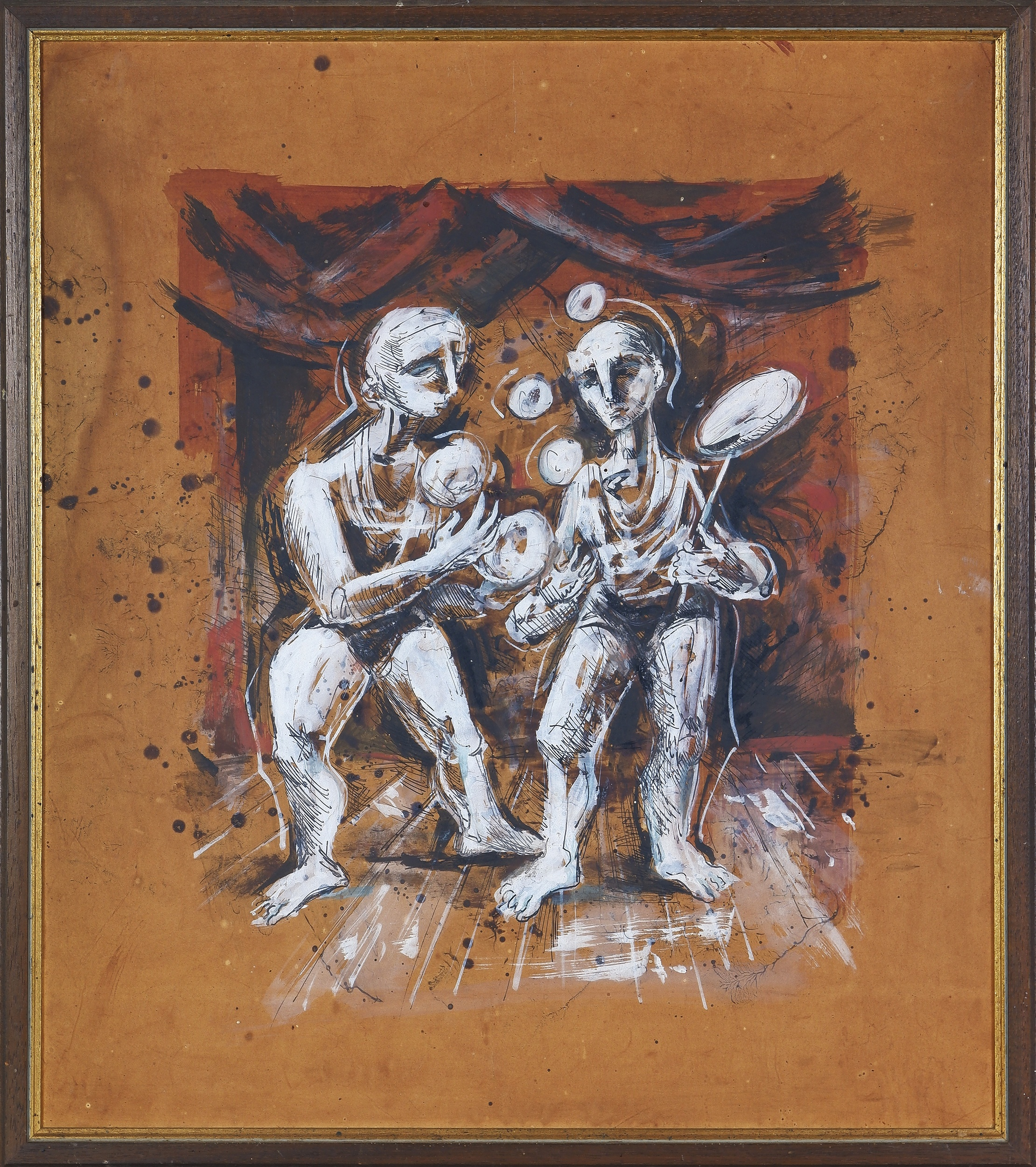 'William Fletcher (1924-1983), Dancers, Ink and Watercolour on Paper'