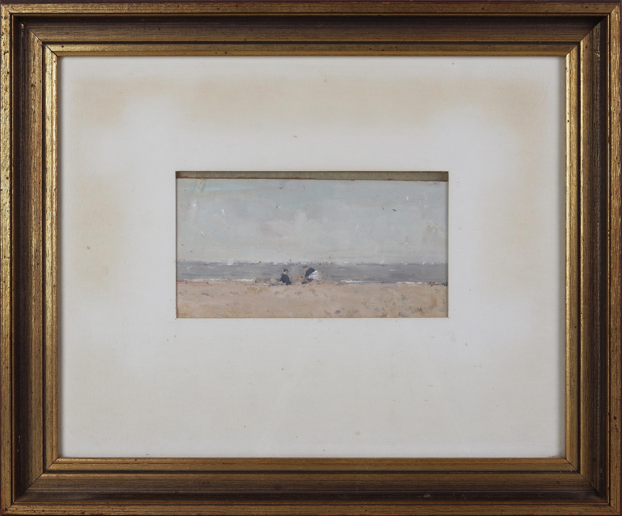 'John McQualter (born 1949), Building Sandcastles, Portsea, Oil on Board'