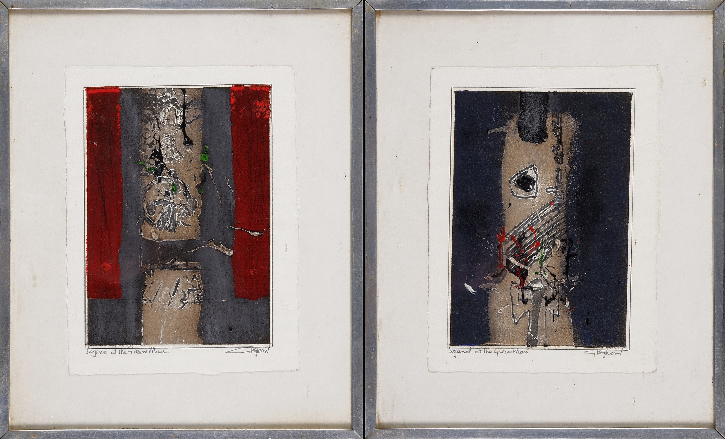 'Thomas Gleghorn (born 1925), Legend of the Green Man (diptych), Mixed Media on Paper'
