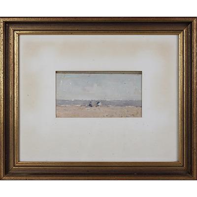 John McQualter (born 1949), Building Sandcastles, Portsea, Oil on Board