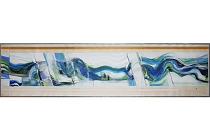 Thomas Gleghorn (born 1925), Blue and Green Wave, Mixed Media on Paper