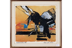 Reg Livermore (born 1938), Bird on the Wire 1980, Oil on Paper