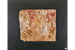 Figures in a Garden, Hand-Painted Ceramic Relief