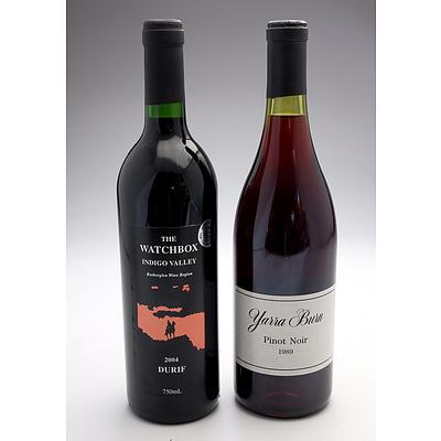 Yarra Burn 1989 Pinot Noir and The Watchbox Indigo Valley 2004 Durif - Two Bottles (2)