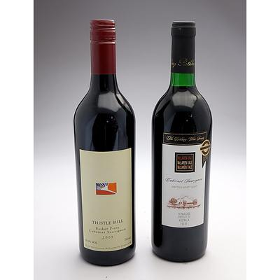 Rothbury Wine Society 1998 McLaren Vale Cabernet Sauvignon and Thistle Hill Mudgee District 2003 Basket Press Cabernet Sauvignon - Two Bottles (2)