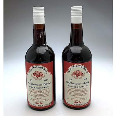 Telopea Park High School 60th Anniversary Tawny Port - Lot of Two Bottles (2)