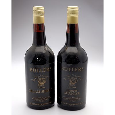 Bullers Calliope Liqueur Muscat and Cream Sherry 738ml - Lot of Two Bottles (2)