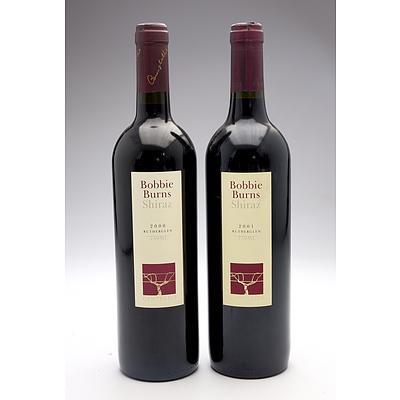Campbells Bobbie Burns Rutherglen Shiraz 2000 & 2001 - Two Bottles (2)