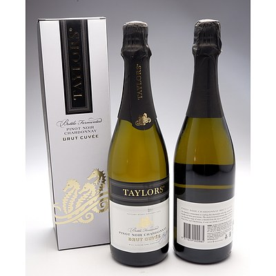 Taylors Bottle Fermented Pinot Noir Chardonnay Brut Cuvee - Lot of Two Bottles (One Boxed)