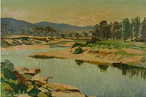 Max Ragless (1901-1981), Riverbend, Oil on Board