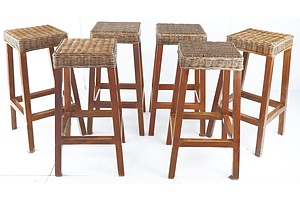 Set of Six Contemporary Stools with Woven Cane Seats