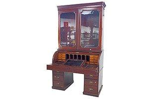 Impressive Late Victorian Mahogany Cylinder Top Secretaire Bookcase Circa 1890