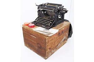 Antique Underwood Secretarial Typewriter with Manual, Accessories and Original Packing Crate