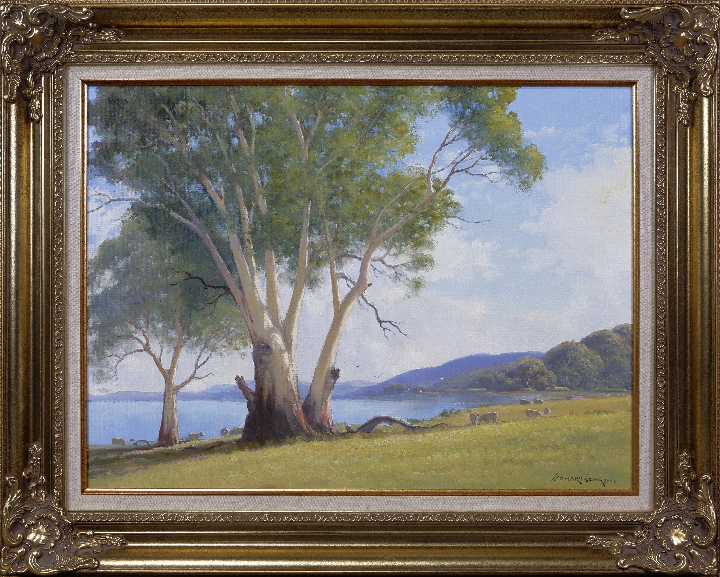 'Leonard Long (1911-2013), Lake George, New South Wales 2004, Oil on Canvas on Board'