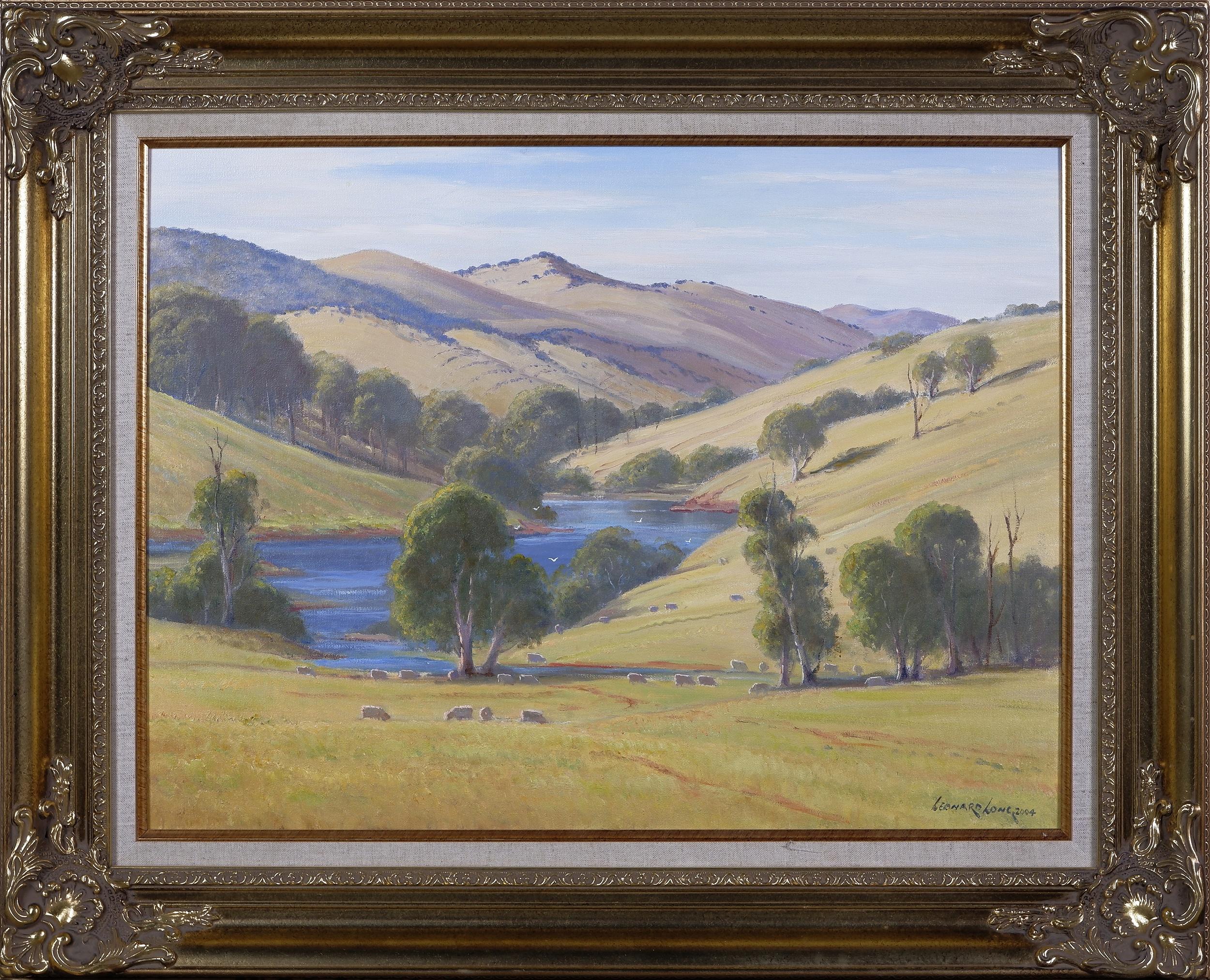 'Leonard Long (1911-2013), Mountain Creek, Wee Jasper - Yass Road 2004, Oil on Canvas, 45 x 60 cm'