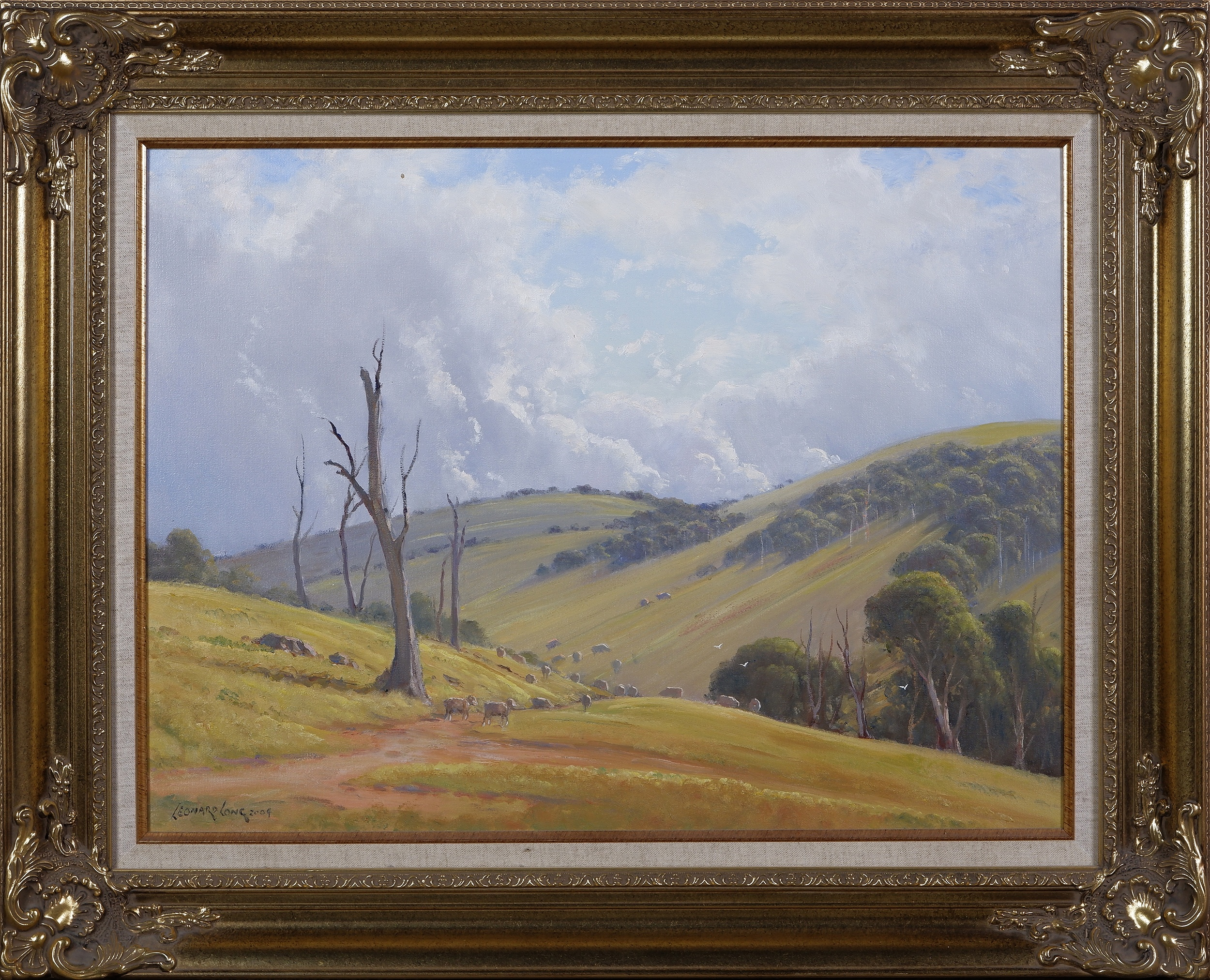 'Leonard Long (1911-2013), Stormy Day - Wee Jasper at Cookmondoon Station 2004, Oil on Canvas on Board, 45 x 60 cm'