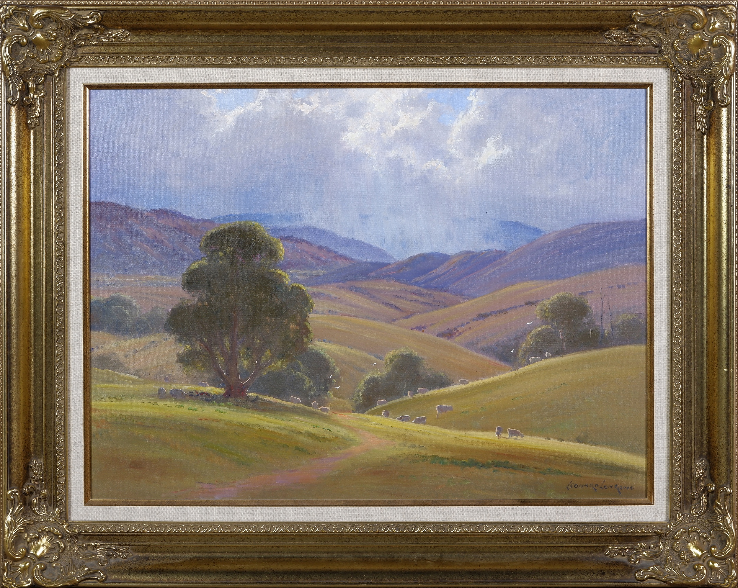 'Leonard Long (1911-2013), Squally Weather - McPherson Valley, Wee Jasper, New South Wales 2004, Oil on Canvas on Board'