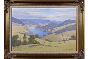 Leonard Long (1911-2013), Across the Goodradigbee, Wee Jasper, New South Wales 2004, Oil on Canvas on Board