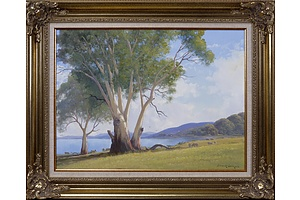 Leonard Long (1911-2013), Lake George, New South Wales 2004, Oil on Canvas on Board