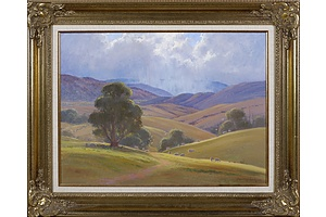 Leonard Long (1911-2013), Squally Weather - McPherson Valley, Wee Jasper, New South Wales 2004, Oil on Canvas on Board