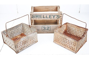 Two Antique French Metal Straining Buckets and a Wooden Shelleys Soft Drink Crate