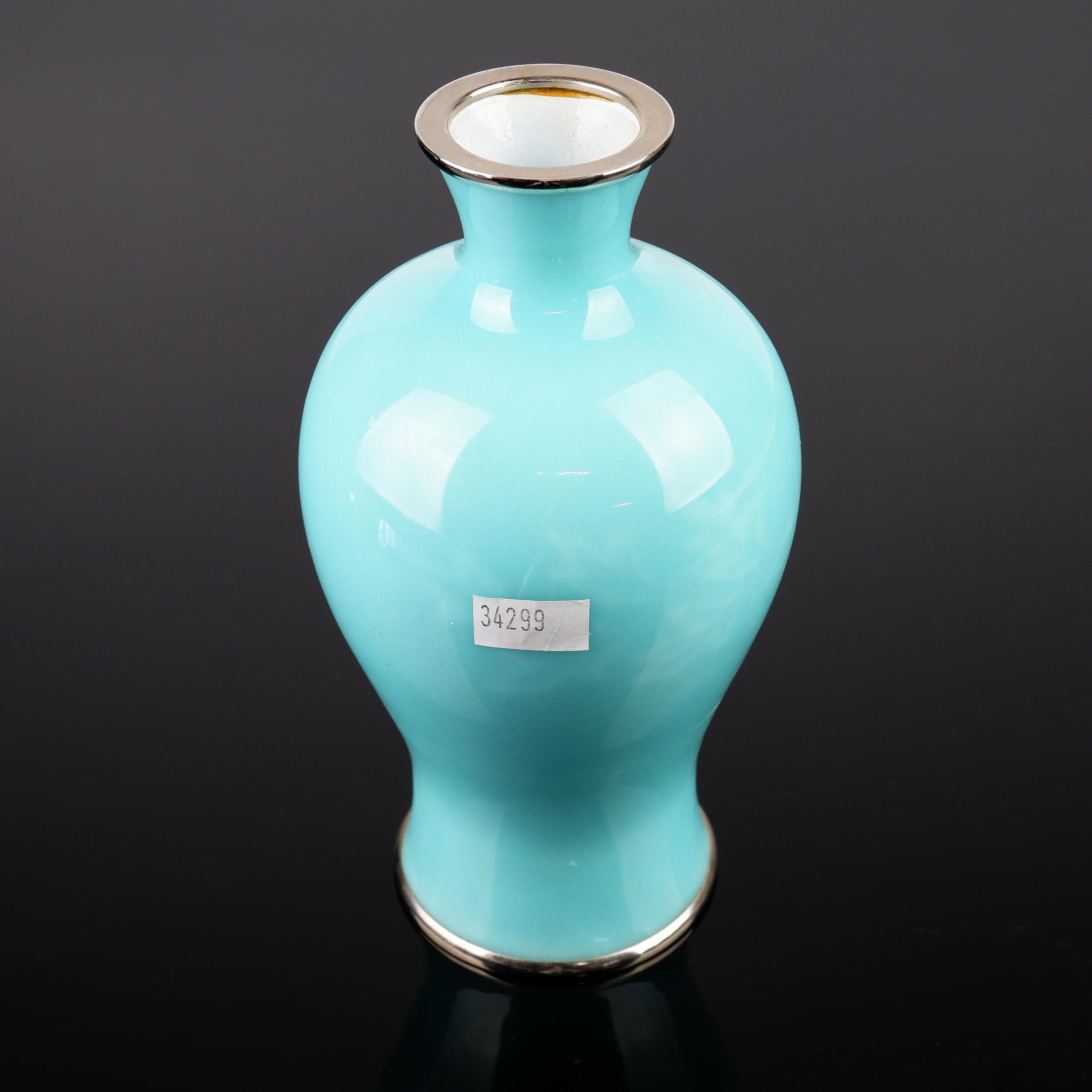 'Fine Japanese Ando Jubei Enamel Vase'