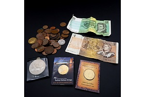 Assorted Australian Notes and Coins including Two RAM Commemorative $1 Coins