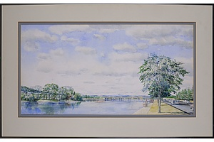 Howard Mason (working 1950s), Lake Burley Griffin Foreshore 1959, Watercolour, 42 x 82 cm