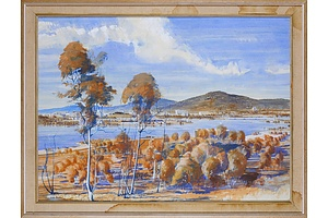 20th Century Australian School, Untitled (View Over Lake Burley Griffin), Pastel and Watercolour, 70 x 95 cm