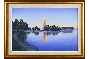 Peter G,. Schlumpp (20th Century), Carillon, Lake Burley Griffin, Canberra 1989, Oil on Canvas on Board, 49.5 x 75 cm