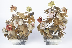 Pair of Chinese Hardstone 'Jade' Trees