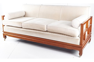 Good Chinese Rosewood Freestanding Settee with Upholstered Cushions - Later 20th Century