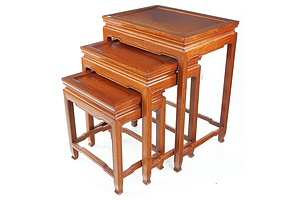 Set of Three Chinese Rosewood Nesting Tables - Later 20th Century