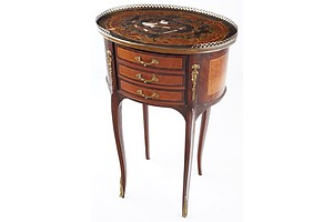 French Antique Style Side Cabinet with Three Small Drawers Ormolu Decoration and Inlaid Top