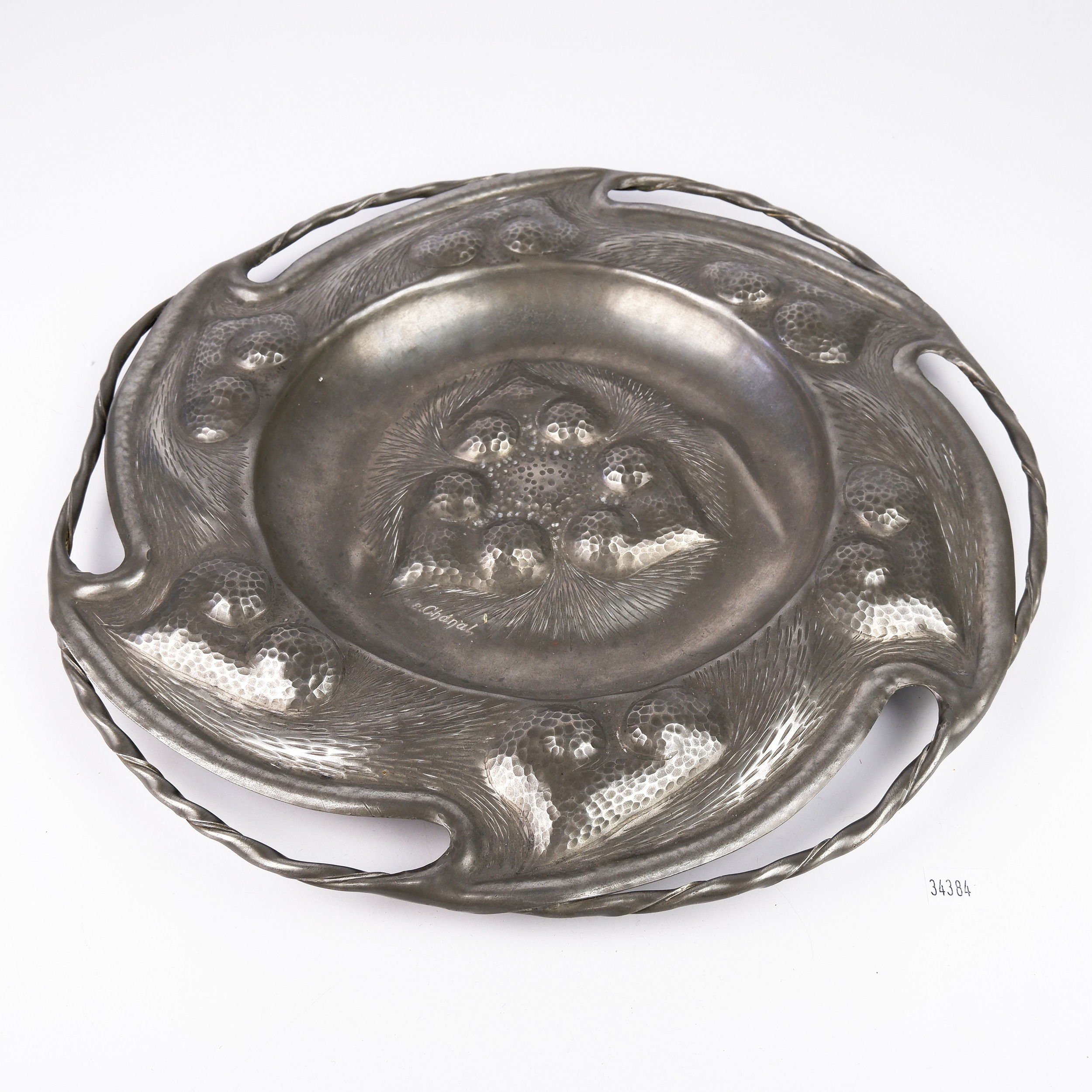 'Antique French Art Nouveau Hammered and Hand Wrought Pewter Charger Signed by Alice and Eugene Louis Chanal'