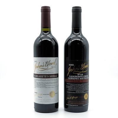 John Glaetzer John's Blend 2002 No. 8 Margarete's Shiraz and No 28 2001 Cabernet Sauvignon- Lot of Two Bottles (2)