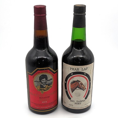 Wayne Harris Verona Winery 1978 Signature Port Bottle No. 633 and Phar Lap Big Tawny Port No. 8972 (2)