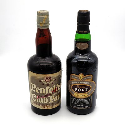 Penfolds Vintage 1956 Five Star Club Port and Brown Brothers Victoria Reserve Port (2)