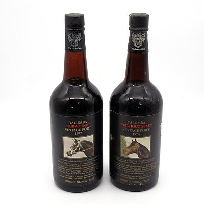 Yalumba Racing Series Vintage Port 'Without Fear' 1976 and 'Surround' 1977 (2)