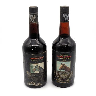 Yalumba Racing Series Vintage Port 'Without Fear' 1976 and 'Family of Man' 1978 (2)