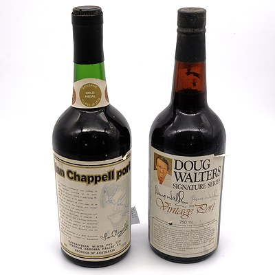 Karrawirra Wines Ian Chappell Port Signed Bottle and Doug Walters Vintage Port Signed Bottle (2)