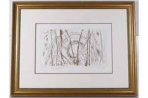 Bill Meyer (born 1942), Dam Rising Through Trees, Etching