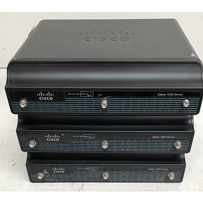 Cisco 1900 Series Integrated Services Router - Lot of Three