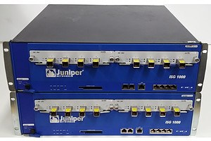 Juniper Networks (NS-ISG-1000-DC) ISG1000 Gateway with Transceivers - Lot of Two