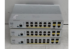 Cisco Catalyst Compact (WS-C2960C-12PC-L) 2960-C Series PoE Ethernet Switches - Lot of Three