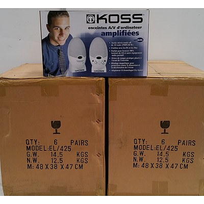 Koss EL425 Amplified Computer AV Speakers - Lot of 12 - RRP $1200 - Brand New