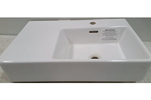 Clark 600mm Wall Basin With Left Hand Shelf 600mm