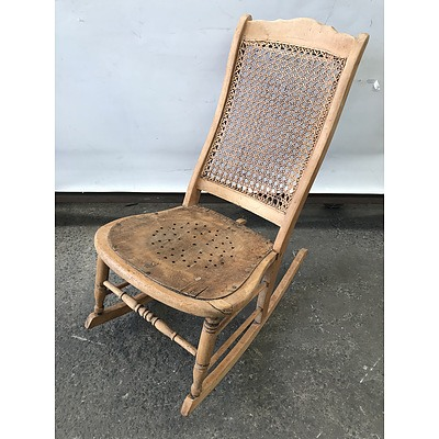 Antique Cane Back Rocking Chair