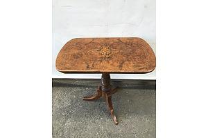 Late Victorian String Inlaid Burr Walnut Table, Circa 1880