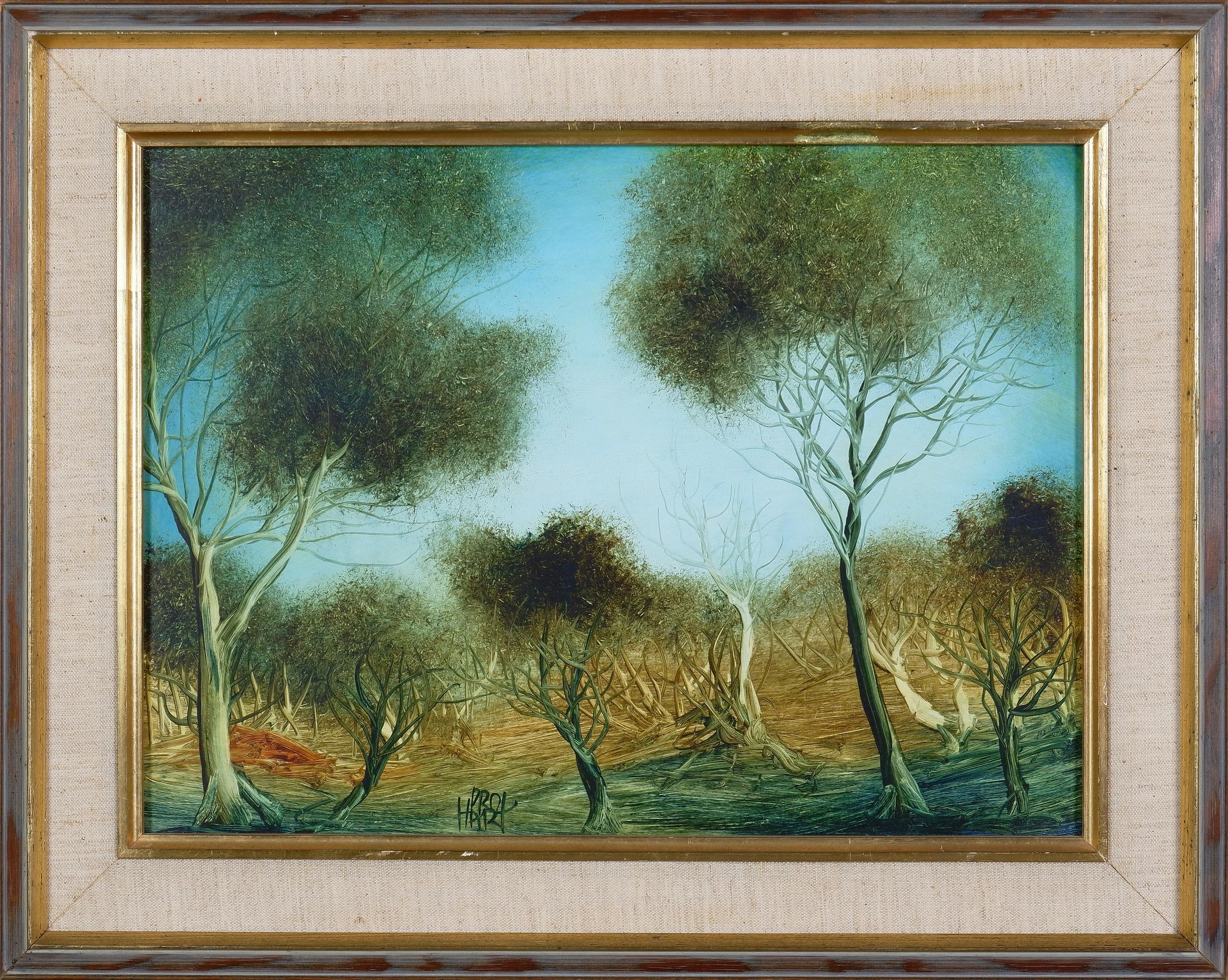'Pro Hart, Untitled (Landscape), Oil on Board'